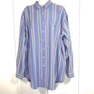 Ralph Lauren 3XLT Blake 2 Ply Cotton Stripe Shirt